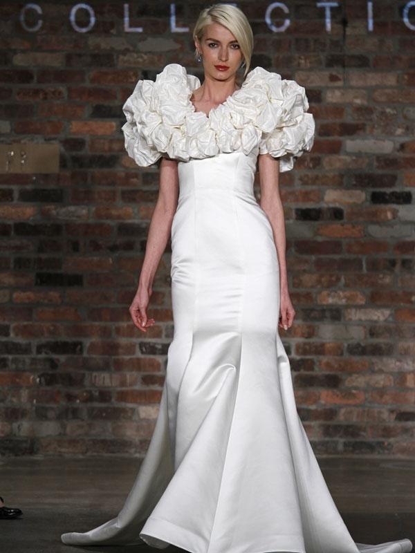 Wedding Dresses Bolero.This Diamond White Satin Mermaid Wedding Dress Fits Like A