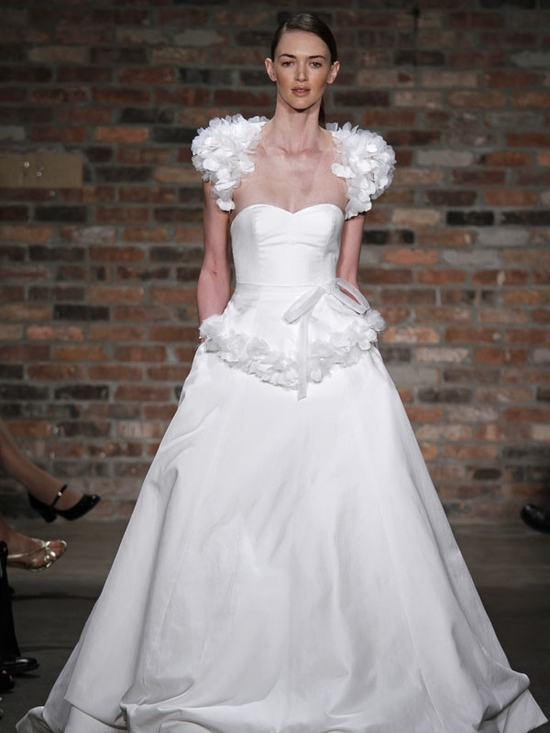 Snow white full a-line strapless wedding dress with textured bolero and detail at waist
