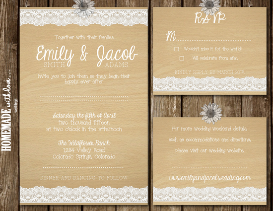 Simple Lace Invitation Set