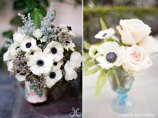 Floral wedding reception table centerpieces featuring white french anemones