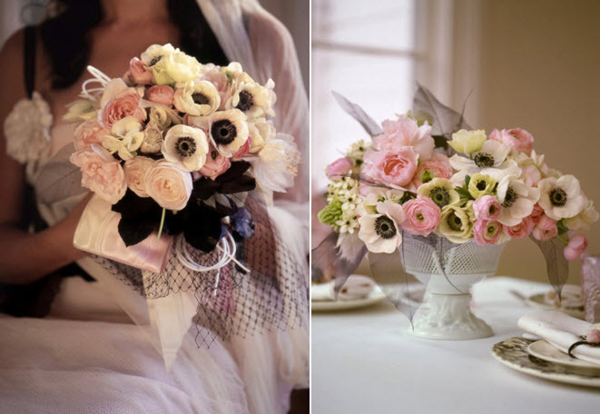 White-black-pink-french-anemones-bridal-bouquet-centerpieces-wedding-flowers.full