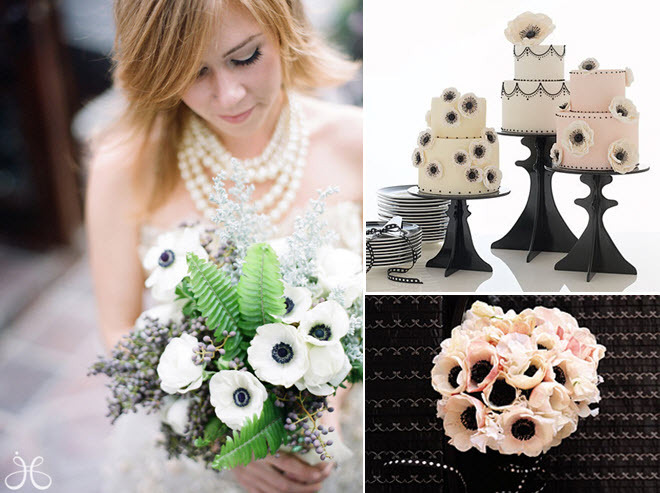 Lovely winter wedding bridal bouquet with white anemones; modern white wedding cakes with black deta