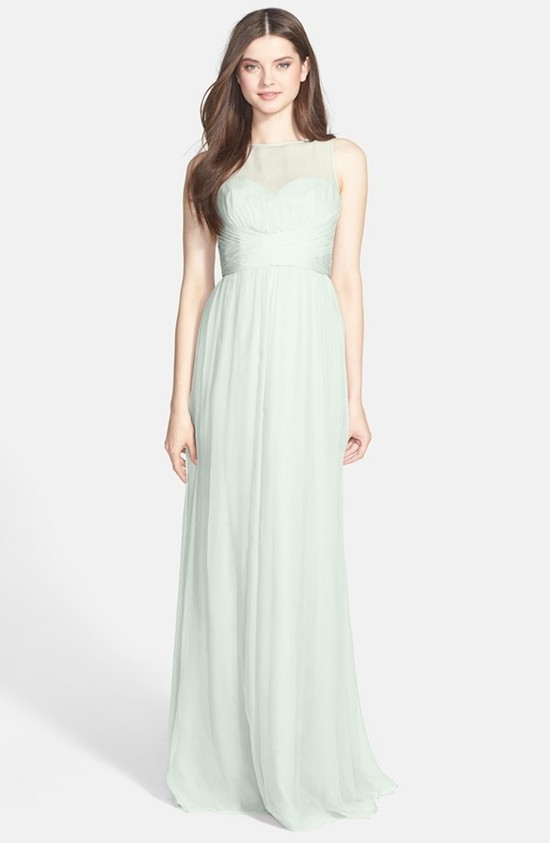Amsale Illusion Yoke Crinkled Silk Chiffon Gown in Mint
