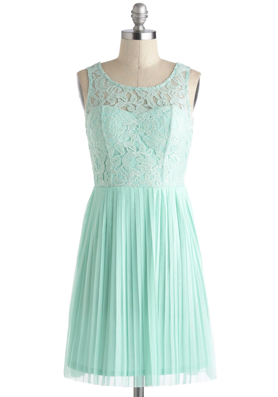Short mint bridesmaid dress with lace illusion neckline for Mint green wedding dress