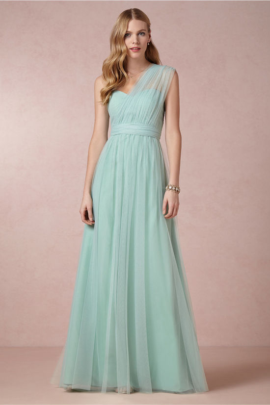 Sheer One Shouldered Mint Bridesmaid Dress