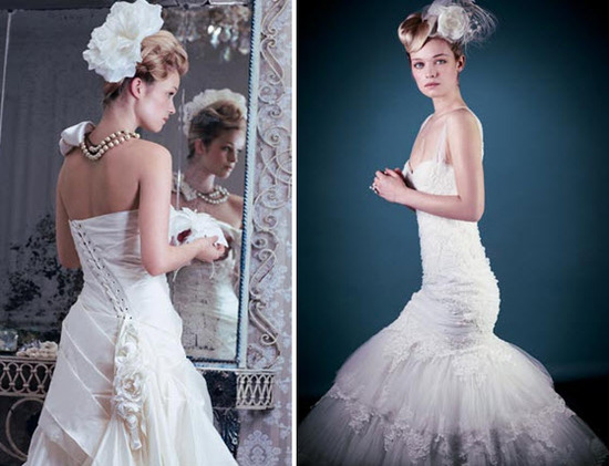 Classic chalky white (aka Silk White) wedding dresses for blonde brides