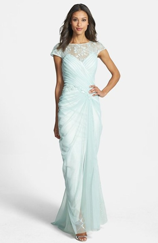 Mint Bridesmaid Gown with an Illusion Neckline