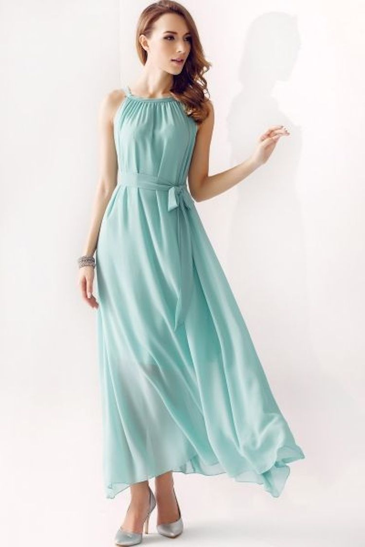 Flowy mint bridesmaid dress with a halter neck for Plus size flowy wedding dresses