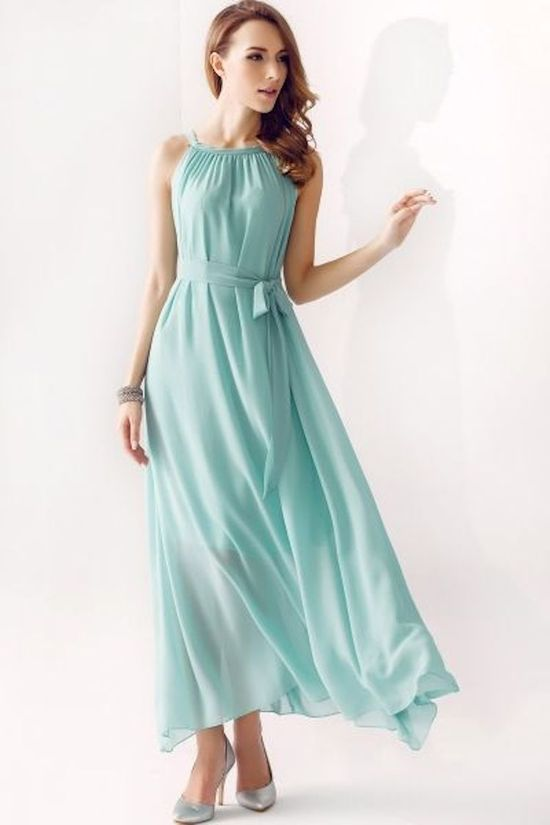 Flowy Mint Bridesmaid Dress with a Halter Neck