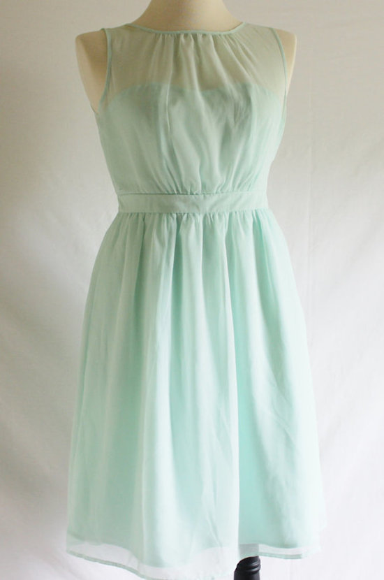 Short Mint Bridesmaid Dress with an Illusion Neckline