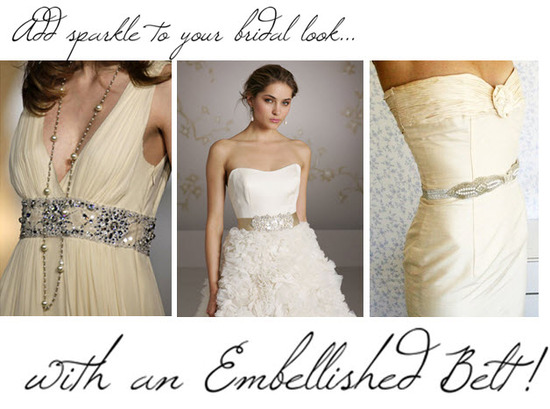 Dress your wedding dress up with a fabulous beaded belt or embellished sash