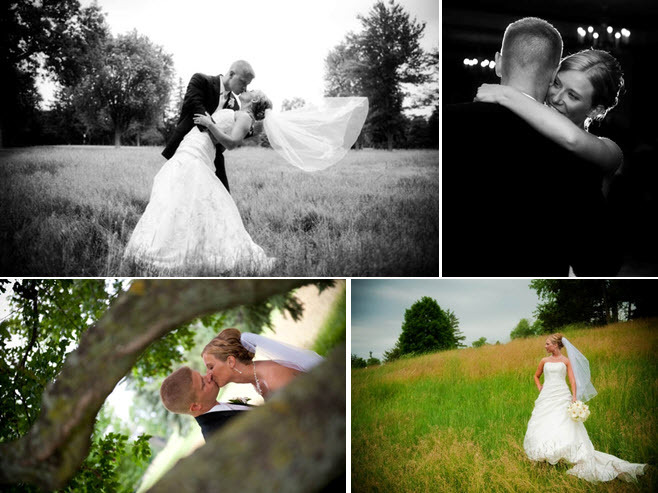 Groom dips bride and kisses her in open field after saying I Do; bride and groom share first dance a