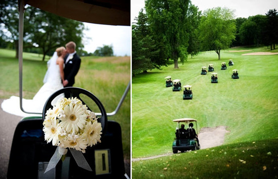 Bride and groom kiss after saying I Do on picturesque golf course; wedding party rides golf carts