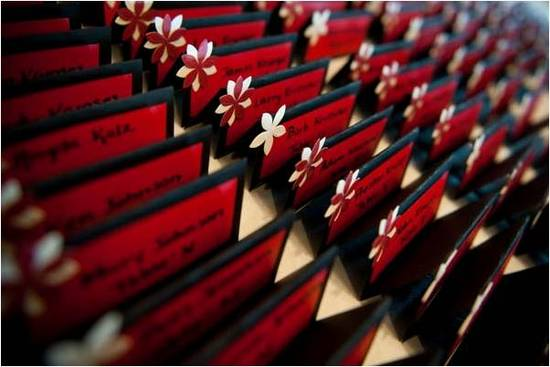 Red, black and white escort cards for reception table seating