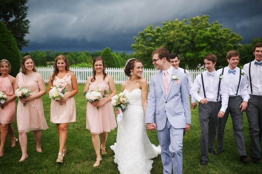 Bridal Party Under Storm Clouds