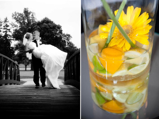 Groom carries bride in white wedding dress over bridge; unique table centerpieces with lemons, limes
