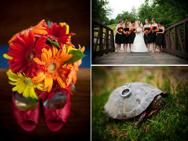 Vibrant red, orange, yellow Gebera daisy bridesmaid bouquet photographed with peep-toe red bridal he
