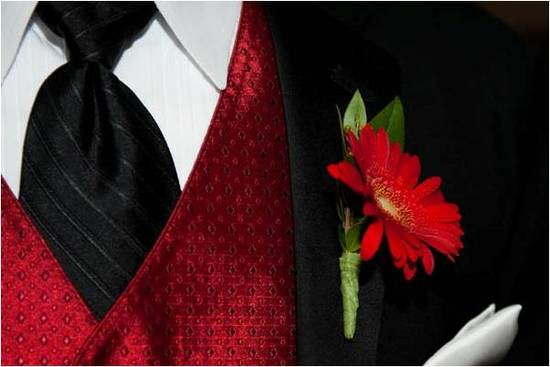 Groom's wedding day attire- black tuxedo and long necktie, red vest and boutinierre