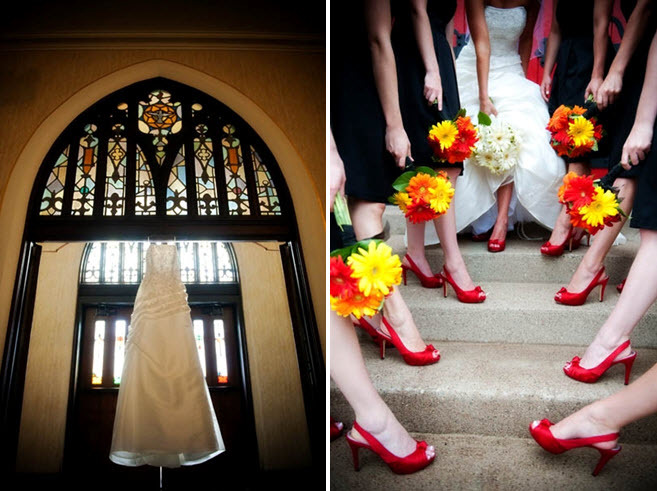 Traditional-white-wedding-dress-hangs-in-window-at-church-for-wedding-ceremony-bright-red-bridal-bridesmaids-shoes.full