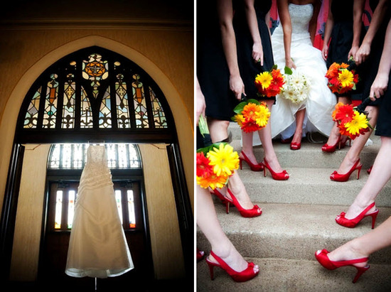 Bride's traditional white strapless wedding dress hangs in church window; bridesmaids show off red p