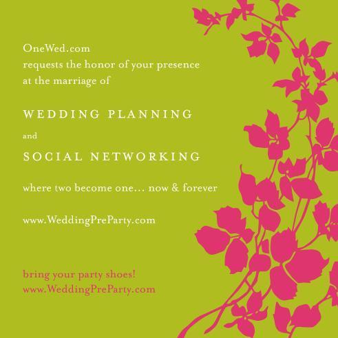 This green and pink wedding invitation is for the wedding of social networking and wedding planning.