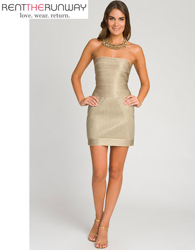 you can rent this hot herve leger gold shimmery bandage dress from rent the runway