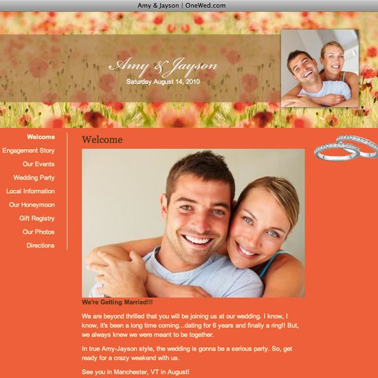 This wedding website is perfect for a fall-themed wedding.