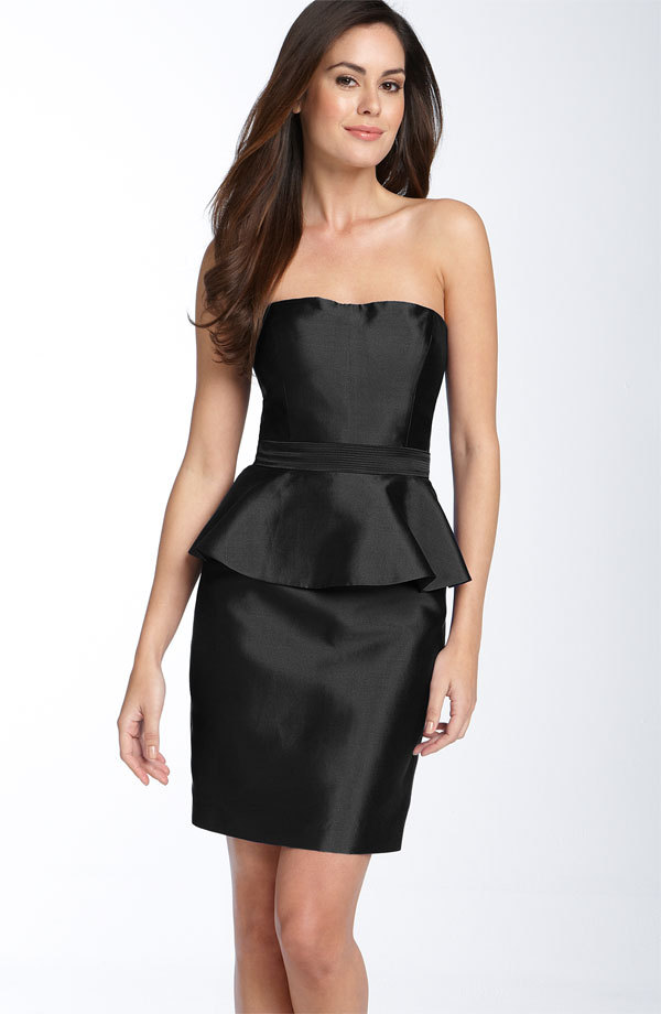 Chic simple black strapless bridesmaids dress with ruffle detail at waist