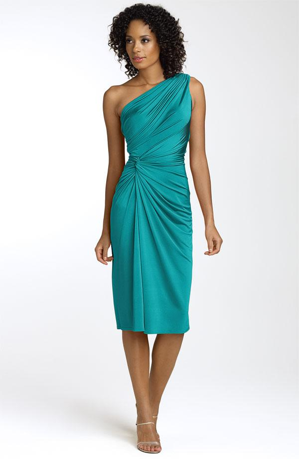 This teal one shoulder bridesmaids dress that cinches at for Teal dress for wedding
