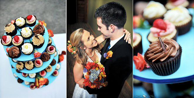 Delicious-wedding-reception-desserts-cupcake-tree-bright-colors-bride-with-vibrant-floral-bridal-bouquet.full