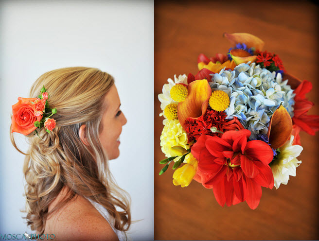 Bridal-updo-hairstyle-half-up-orange-flowers-in-hair-vibrant-colorful-bridal-bouquet-assorted-flowers.full