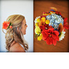 Bridal-updo-hairstyle-half-up-orange-flowers-in-hair-vibrant-colorful-bridal-bouquet-assorted-flowers.square