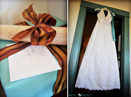 Ivory halter lace wedding dress with blue sash; tiffany blue and chocolate brown wedding day gift