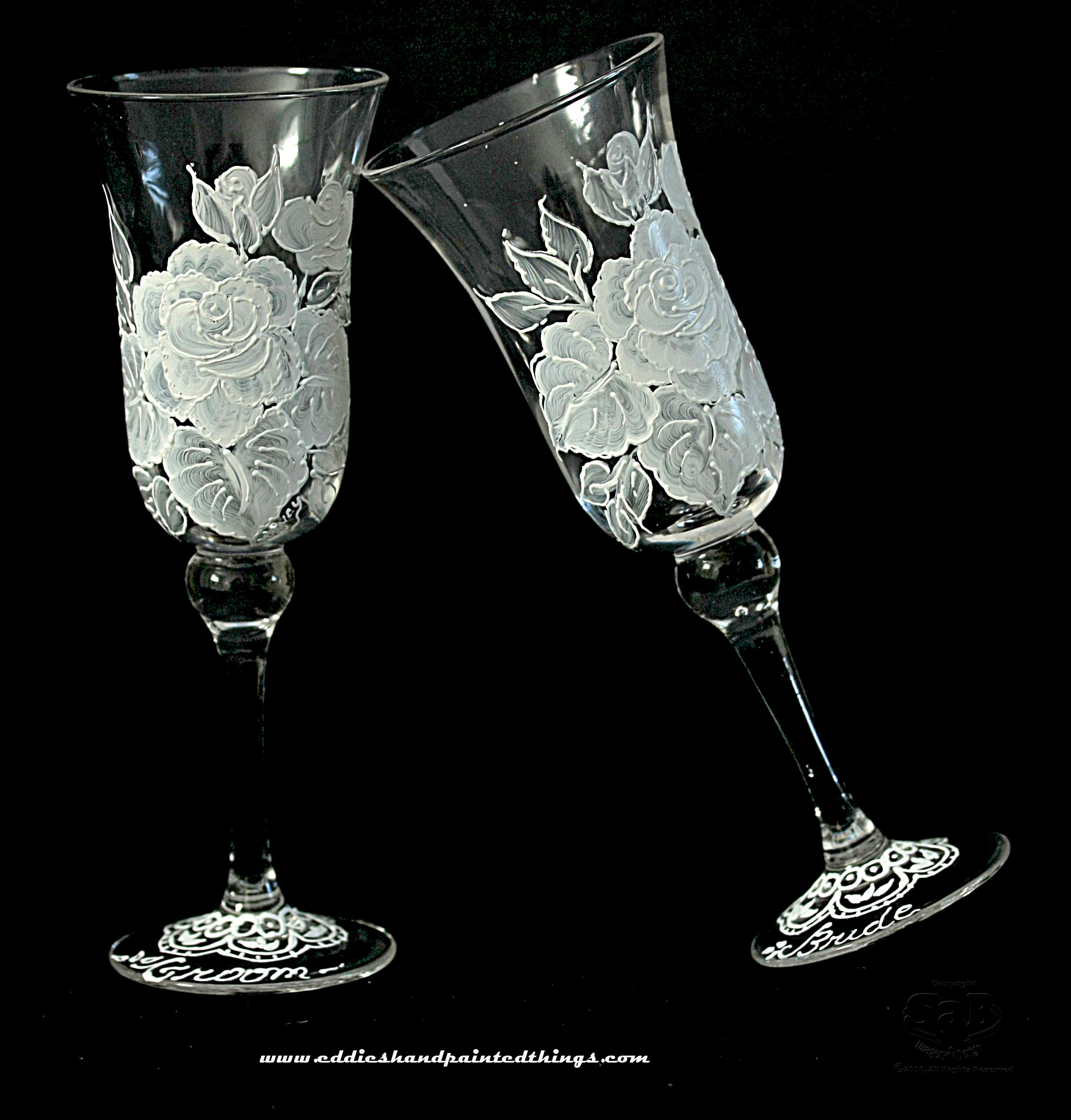 Handpainted-champagne-toasting-flutes-clear-white-black-floral-rose-design.original