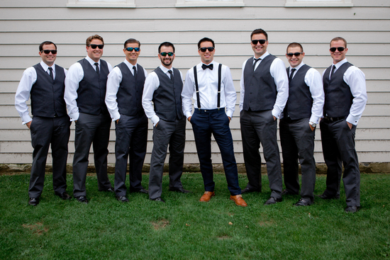 Groomsmen in Vests and Groom in Suspenders