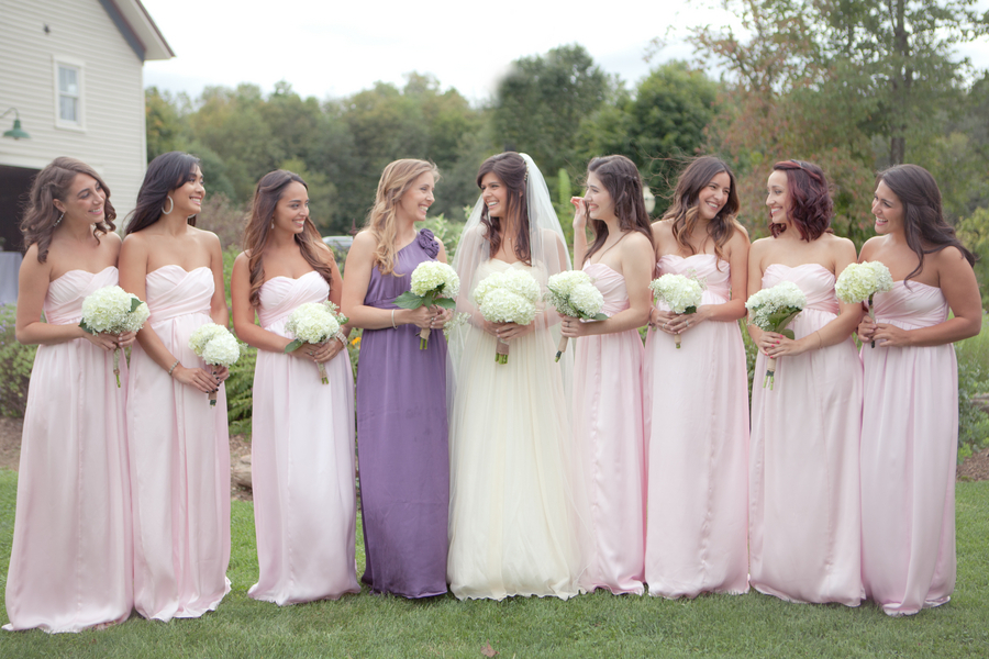 Pink Bridesmaid Dresses And Purple Maid Of Honor Dress Full Jpg