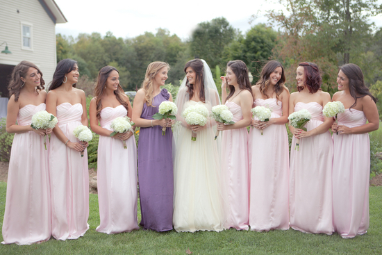 Pink Bridesmaid Dresses and Purple Maid Of Honor Dress