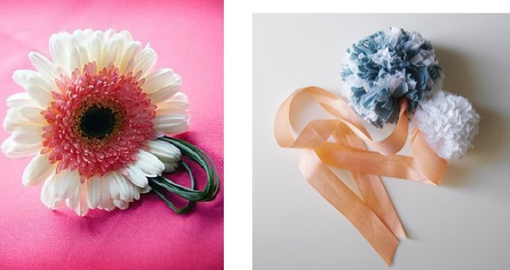 These adorable wrist corsages provide a whimsical feel for your vintage or retro style wedding.