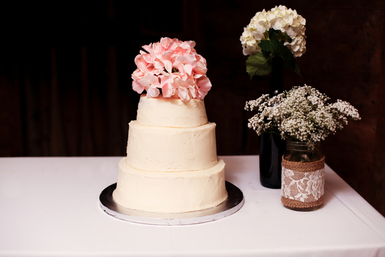 White Tiered Cake with Floral Accents