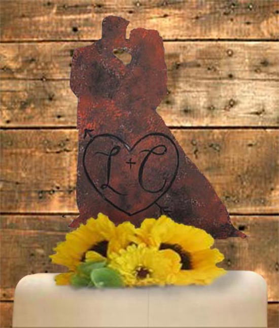 Rustic Bride and Groom Cake Topper Faux Metal