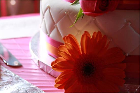 Wedding detail shot- white wedding cake with hot pink ribbon and orange gerber daisies