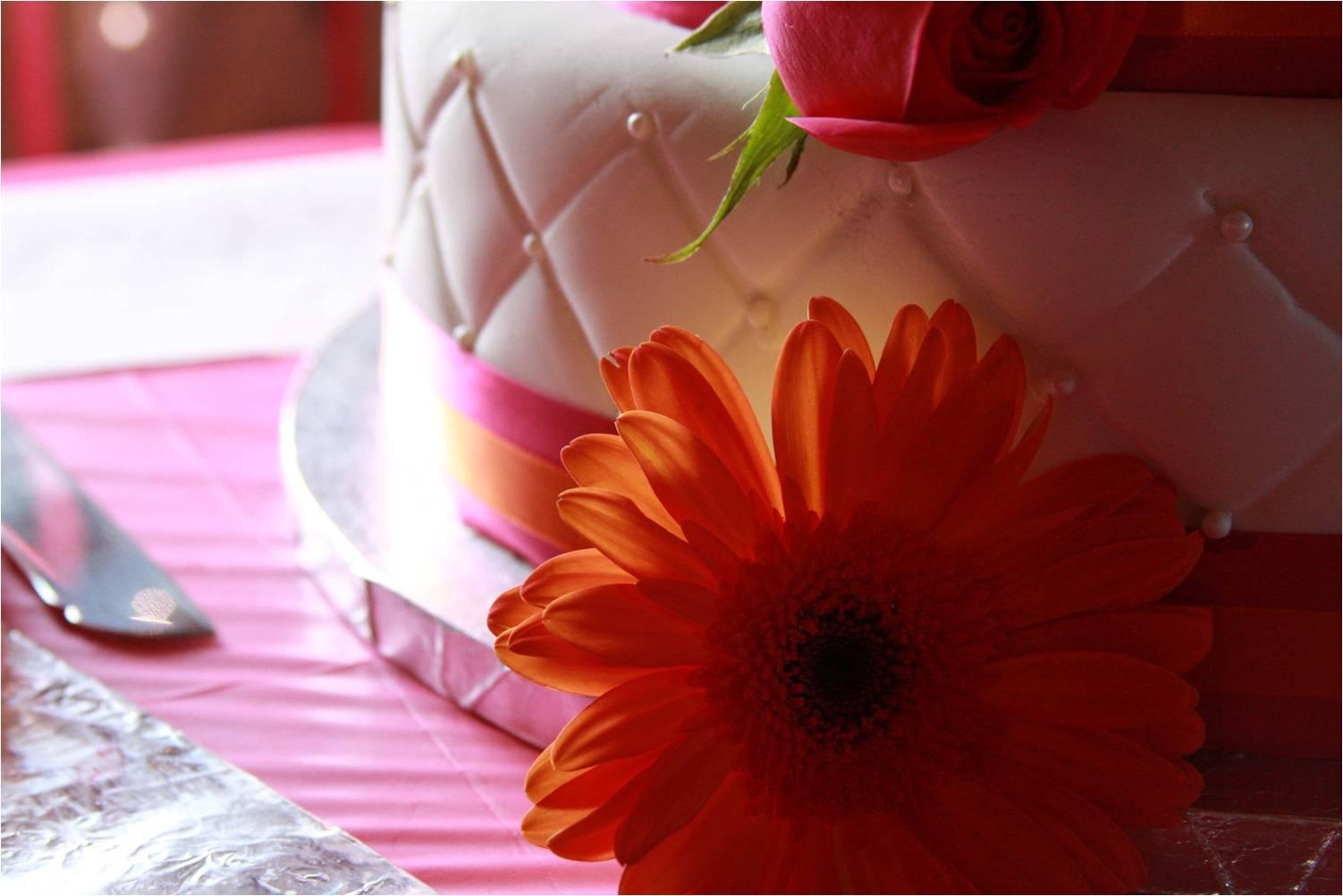 Wedding detail shot white wedding cake with hot pink