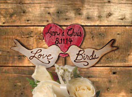 Love birds Heart personalized cake topper