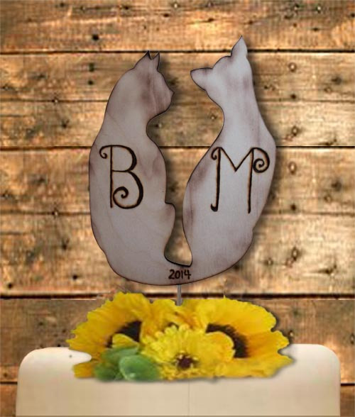 lovecats cat rustic personalized cake topper