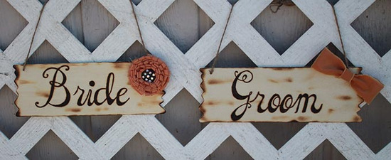 Vintage fabric bride and groom sign
