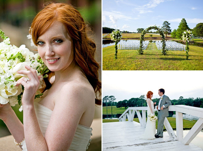 Bride holds classic ivory floral bridal bouquet; bride and groom kiss on white dock