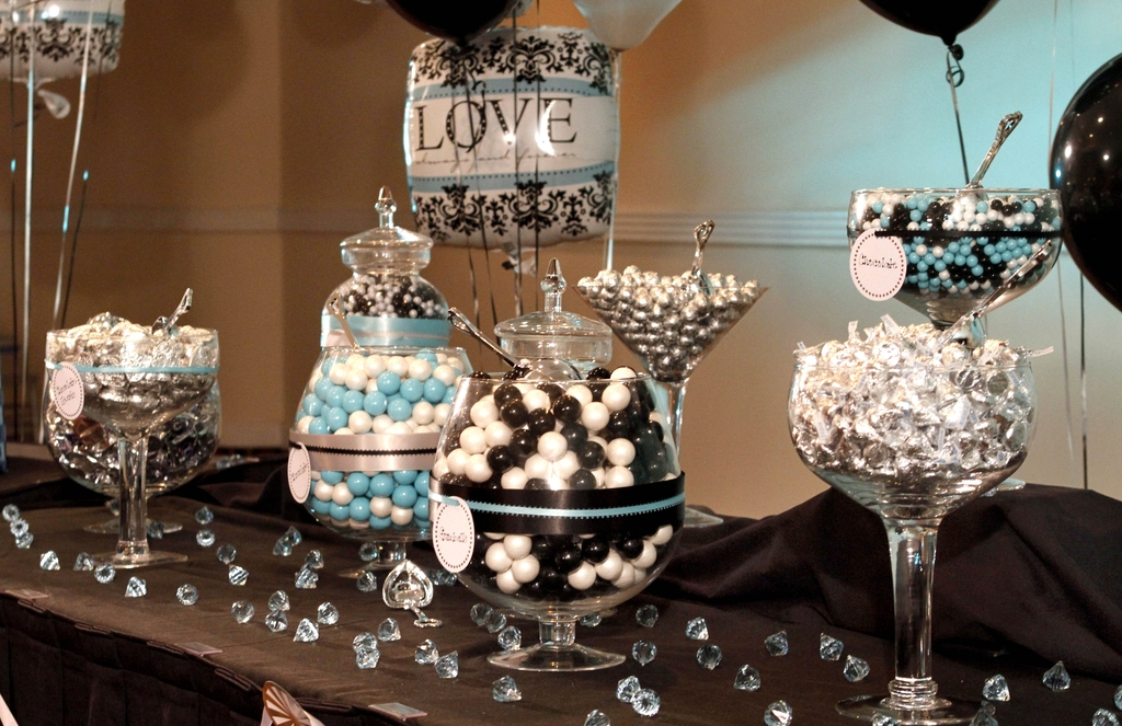 Chic black and white damask with teal bridal shower decor, all done with Party City products