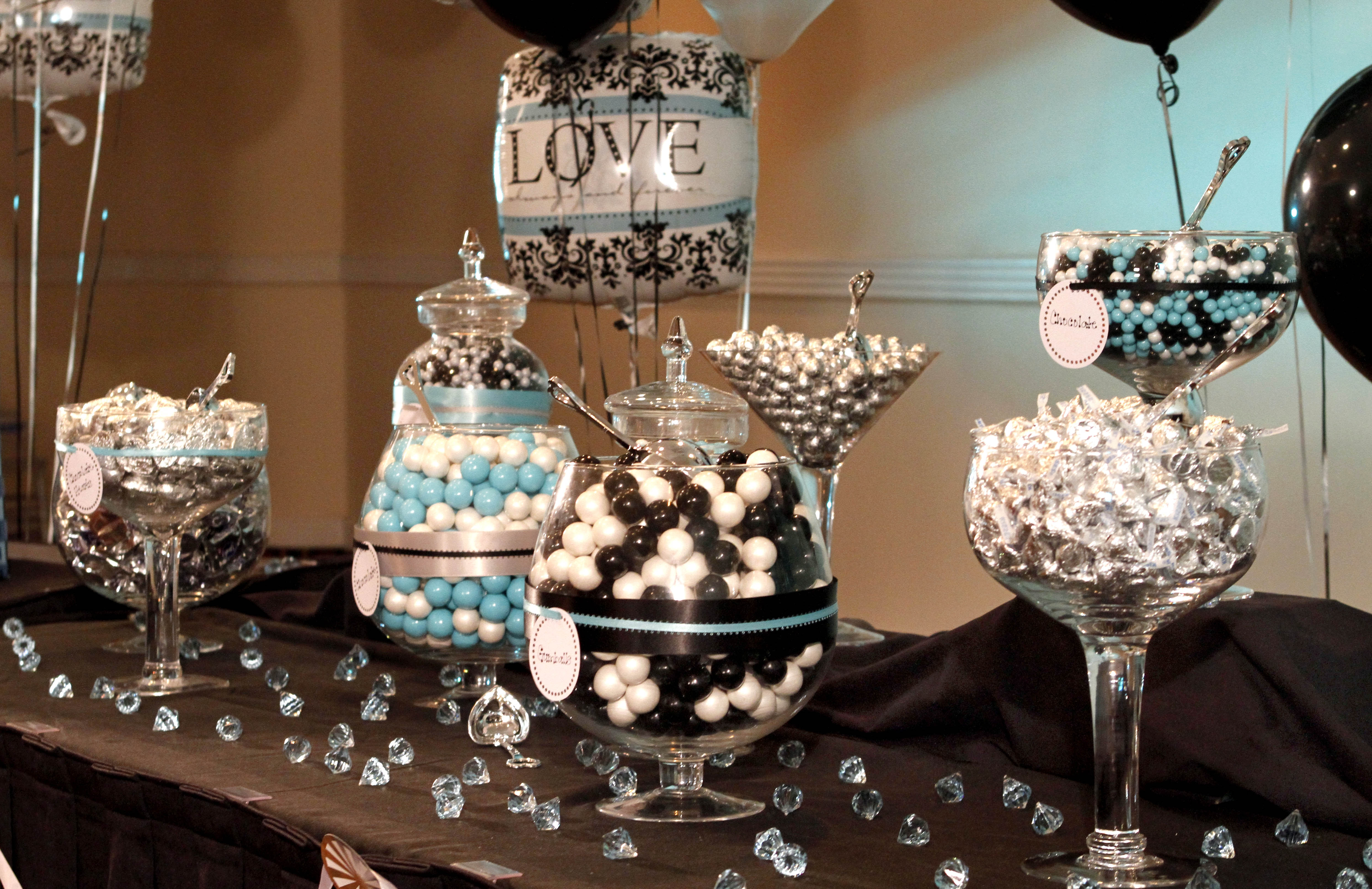 Black And White Damask Birthday Party Decorations Image