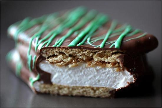 photo of Chocolate brown, white, green s'more wedding favors- chic and delicious!