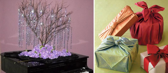 Pick up gently used decorations on RecycledBride.com, and opt for recycled gift wrap for an eco-chic